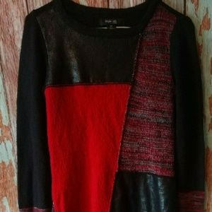 Women's long sweater reds and black patchwork